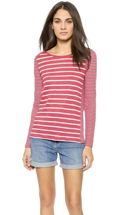 Mixed Stripe Crew Top by Vince in The D Train