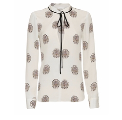 Danielle Printed Tie Neck Blouse by A.L.C. in Lethal Weapon