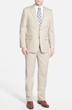 Classic Fit Cotton Blend Suit by Coconut Grove in Triple 9