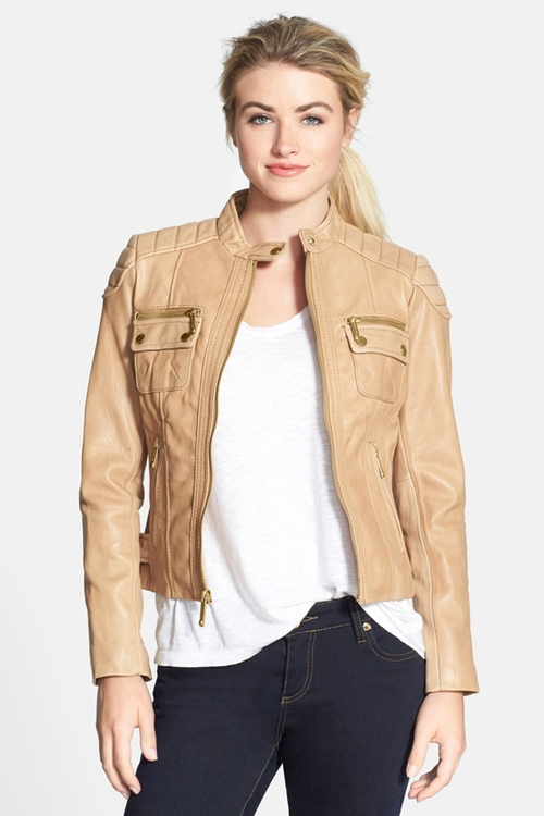 Front Zip Quilt Leather Moto Jacket by Michael Kors in Southpaw