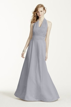 Satin Empire Ball Gown with Illusion Halter by David's Bridal in Fifty Shades of Grey