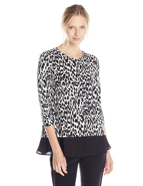 Leopard Print Contrast Top by Karen Kane in Keeping Up With The Kardashians - Season 11 Episode 9