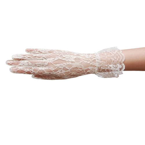 Flower Pattern Women's Lace Gloves with Ruffle Wrist Length by ZaZa Bridal in Jersey Boys