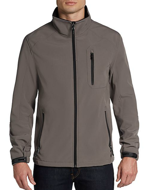 Zip-Front Soft Shell Jacket by Calvin Klein in Ride Along