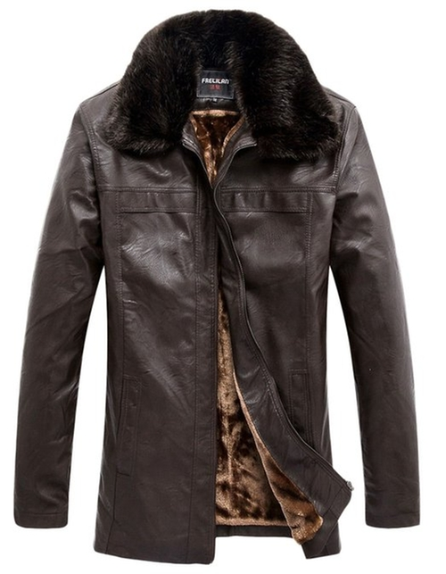 Faux-Leather Fur-Lined Collar Jacket by Erechtheus in Regression