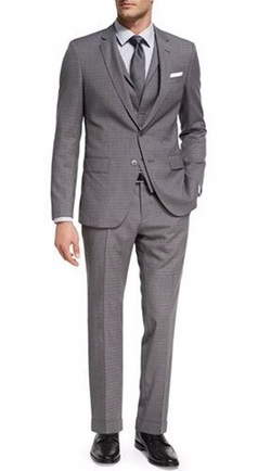 Broken Check Wool 3-Piece Suit by Boss in Power