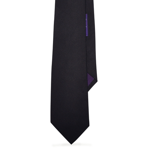 Solid Silk Repp Tie by Ralph Lauren in Black Mass