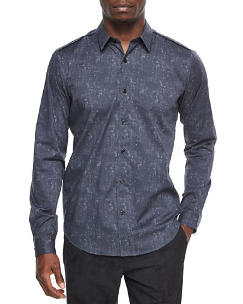 Long-Sleeve Abstract-Print Sport Shirt by Theory in Top Five