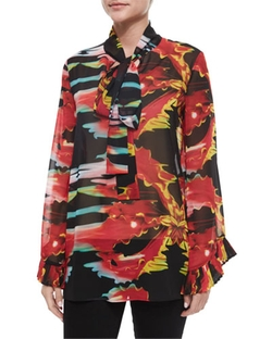 Neck-Tie Printed Blouse by Just Cavalli in The Good Wife