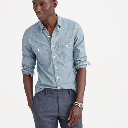 Selvedge Japanese Chambray Utility Shirt by J. Crew in Atonement