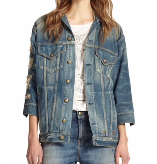Oversized Distressed Denim Jacket by R13 in Keeping Up With The Kardashians - Season 11 Episode 2