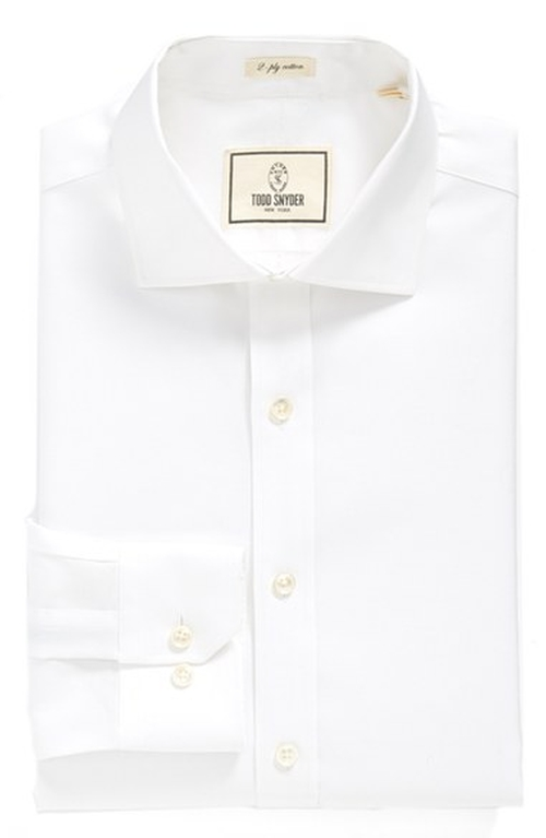 Trim Fit Solid Dress Shirt by Todd Snyder White Label in Victor Frankenstein