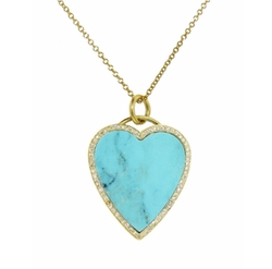Diamond Turquoise Inlay Heart Pendant Necklace by Jennifer Meyer in Chelsea
