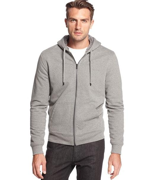 Sherpa Full-Zip Hoodie by Michael Kors in Contraband