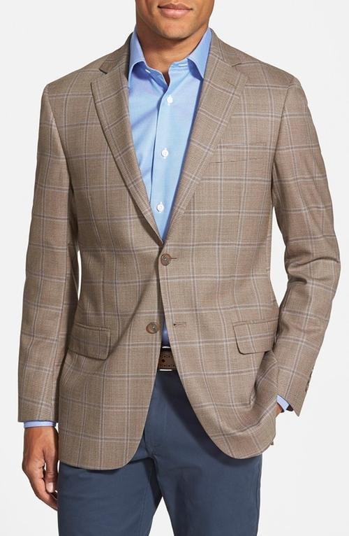 Classic Fit Plaid Wool Sport Coat by Hart Schaffner Marx in Legend
