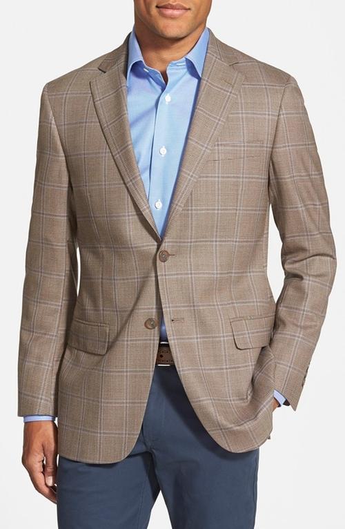 Classic Fit Plaid Wool Sport Coat by Hart Schaffner Marx in Legend