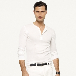 Pima Long-Sleeved Henley Shirt by Ralph Lauren in Suits