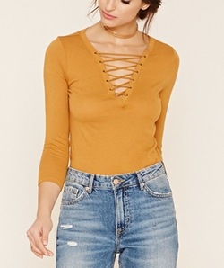 Contemporary Lace-Up Top by Forever21 in Shadowhunters