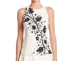 Sleeveless Printed Cady Top by Peter Pilotto in Rosewood