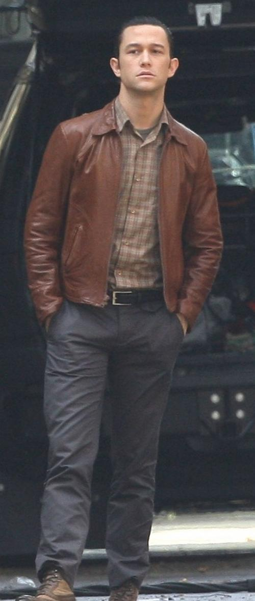 Custom Made Vintage Brown Leather Jacket by Jeffrey Kurland (Costume Designer) and Dennis Kim (Tailor) in Inception