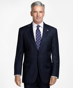 Madison Fit Saxxon Wool Track Stripe 1818 Suit by Brooks Brothers in Billions