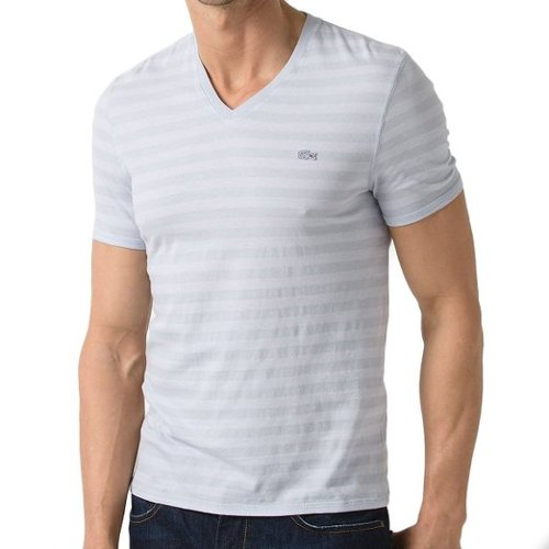 Vintage Wash Striped V-Neck Shirt by Lacoste in That Awkward Moment