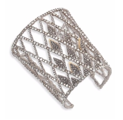 Crystal-Encrusted Spiked Lattice Cuff Bracelet by Alexis Bittar in Valerian and the City of a Thousand Planets