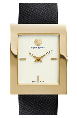 'Buddy Classic' Rectangular Saffiano Leather Strap Watch by Tory Burch in How To Get Away With Murder