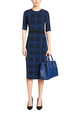Stretch Check Print Sheath Dress by Boss Hugo Boss in Scandal