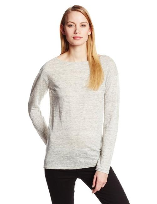 Women's Linen Knit Boatneck Long Sleeve Tee by Michael Stars in Ouija
