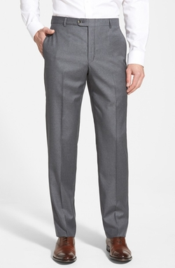 'B Series' Flat Front Wool Trousers by Hickey Freeman in Legend