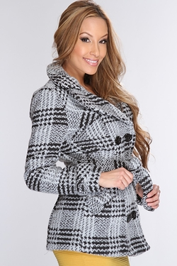 Black Grey Plaid Double Breasted Belted Outerwear by AMI Clubwear in The Bachelorette