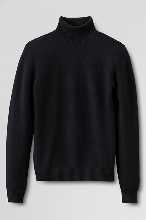 Merino Textured Turtleneck Sweater by Lands' End in Everest