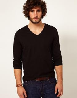 Long Sleeve T-Shirt With V Neck by ASOS in Vampire Academy