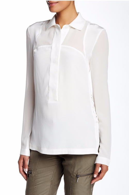 Polo Collar Silk Blouse  by A. Moss  in The Notebook