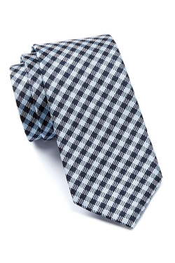 Check Printed Silk Tie by Hugo Boss in Billions