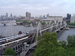 London, England by Hungerford Bridge and Golden Jubilee Bridges in Thor: The Dark World