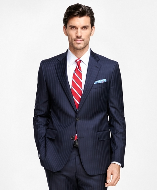 Regent Fit Saxxon Wool Stripe Suit by Brooks Brothers in Scandal - Season 5 Episode 14