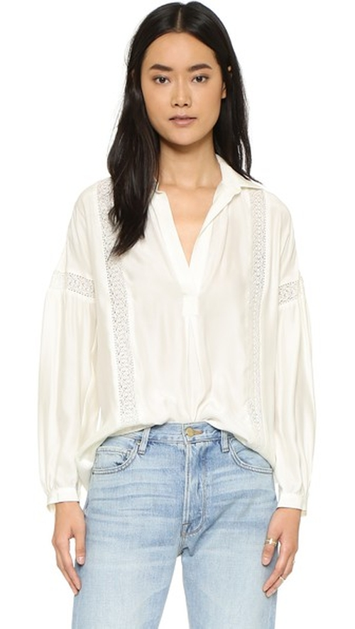 Le Lace Trim Shirt by Frame in Keeping Up With The Kardashians - Season 11 Episode 6