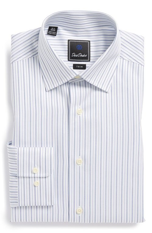 Trim Fit Stripe Dress Shirt by David Donahue in Kick-Ass