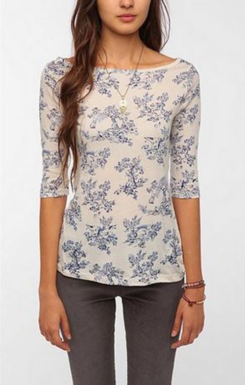 Printed 3/4 Sleeve Boatneck Tee by BDG in If I Stay
