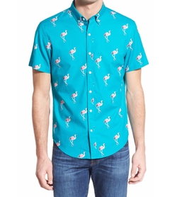 'Flamingo Stand' Slim Fit Short Sleeve Sport Shirt by Bonobos in New Girl