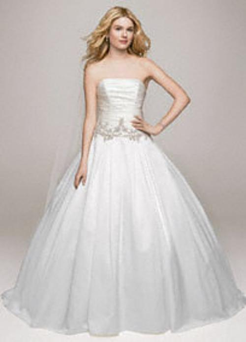 Strapless Satin Ball Gown with Beaded Accents by David's Bridal Gown Collection in The Other Woman