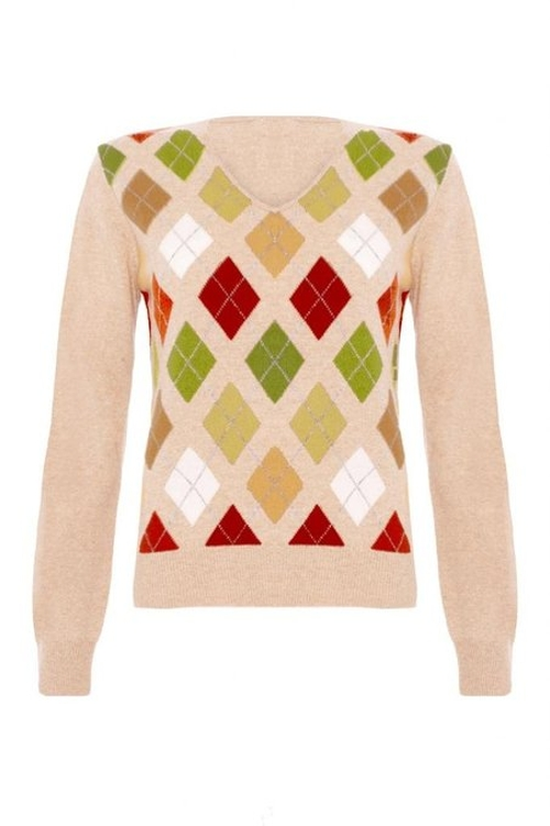 Ladies Cashmere Argyle V-Neck Sweater by Scottish Wear in Mean Girls