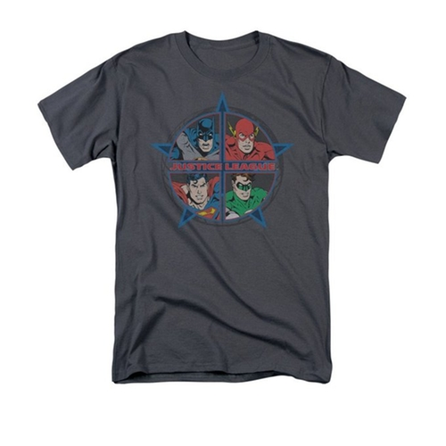 Justice League Four Heroes Men's Charcoal T-Shirt by Sons of Gotham in The Big Bang Theory - Season 9 Episode 5