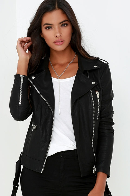 Live It Up Black Vegan Leather Jacket by Lulu's in Pretty Little Liars - Season 6 Episode 15