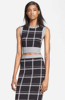 'Scott' Embroidered Check Crop Top by A.L.C. in The Mindy Project