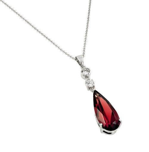 Rhodium Plated Teardrop Necklace by Forever Flawless Jewelry in The American