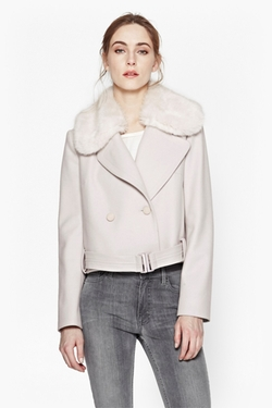 Platform Faux Fur Wool Jacket by French Connection in The Living Daylights