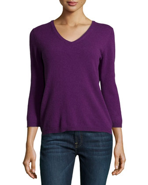 Cashmere V-Neck Cashmere Sweater by Neiman Marcus in Hall Pass
